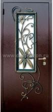 Стальная дверь ДК 03 со стеклопакетом и ковкой