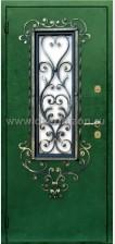 Стальная дверь со стеклопакетом и ковкой ДК 01