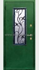 Стальная дверь со стеклопакетом и ковкой ДК 02