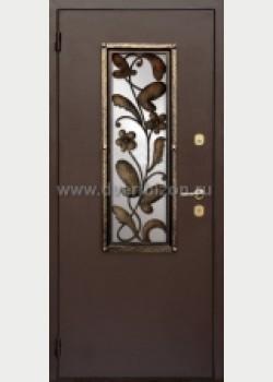 Стальная дверь со стеклопакетом и ковкой ДК 04