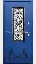 Стальная дверь со стеклопакетом и ковкой ДК 05