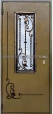 Стальная дверь со стеклопакетом и ковкой ДК 06