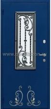 Стальная дверь со стеклопакетом и ковкой ДК 07