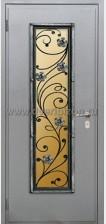 Стальная дверь со стеклопакетом и ковкой ДК 08