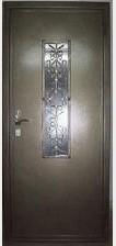 Стальная дверь с ковкой 3 (со стеклопакетом)